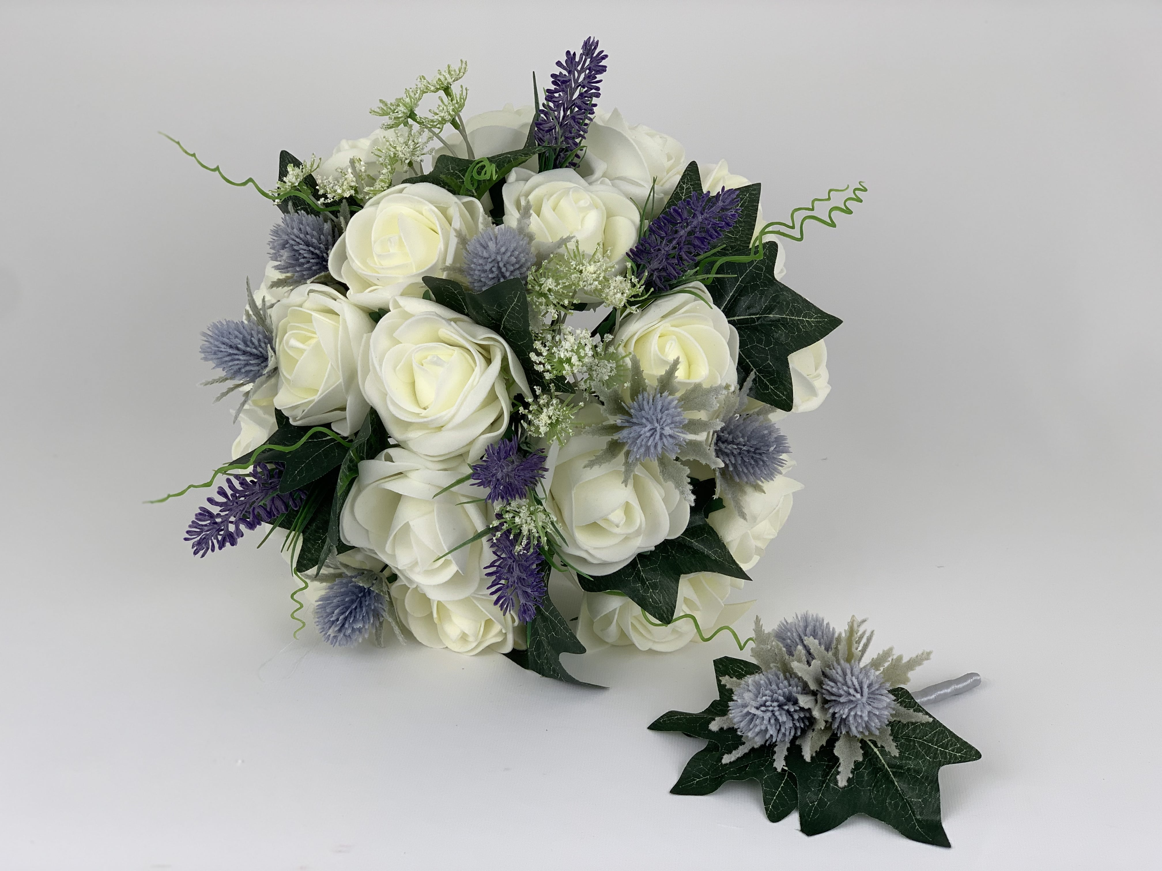 artificial wedding flowers package scottish thistle