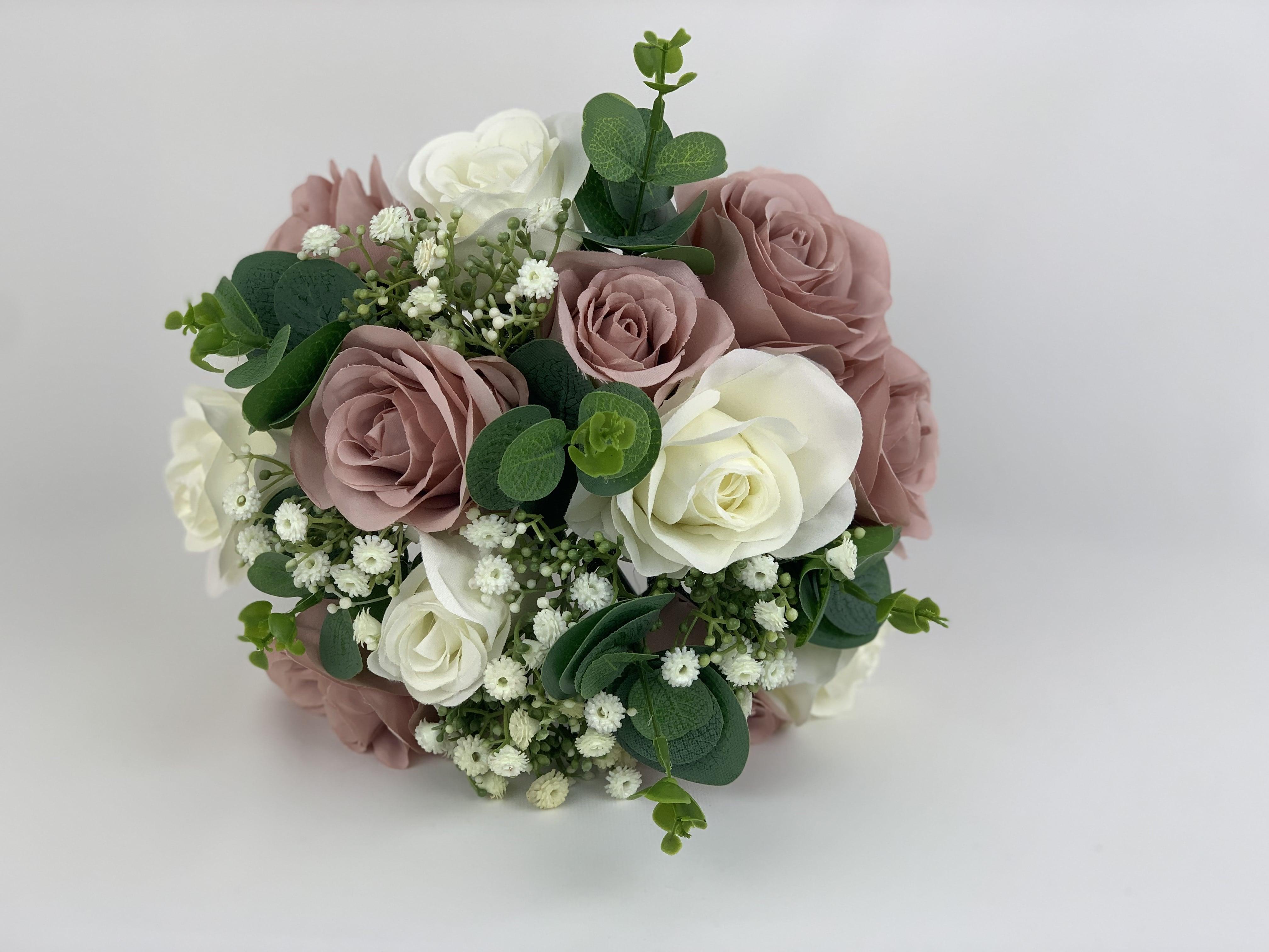Artificial Wedding Flowers Package Silk Roses Gypsophila Eucalyptus