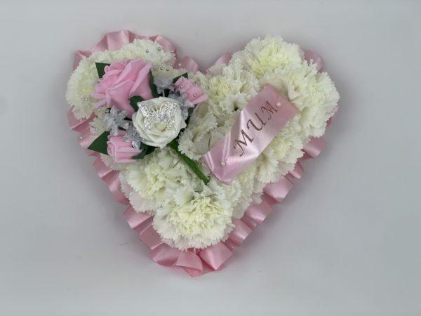 Small Artificial Silk Funeral Flowers Heart Wreath