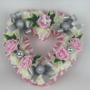 Artificial Silk Flowers Butterfly Heart Wreath