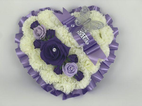 Large Lilac Artificial Silk Heart Wreath