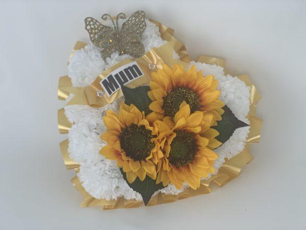 Large Artificial Silk Sunflower Heart Wreath