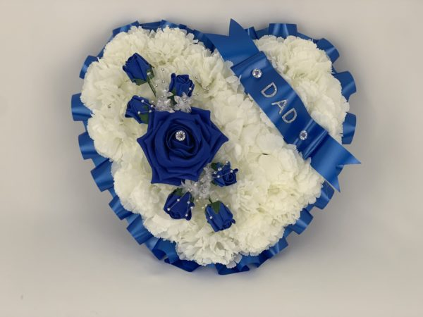 Large Royal Blue Artificial Silk Heart Wreath