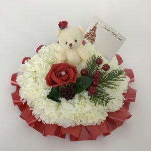 Artificial Silk Christmas Funeral Posy with Teddy Bear