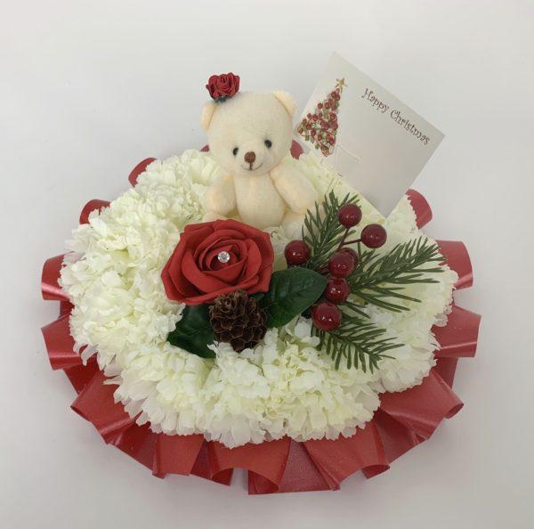 Artificial Silk Christmas Funeral Posy with Teddy Bear