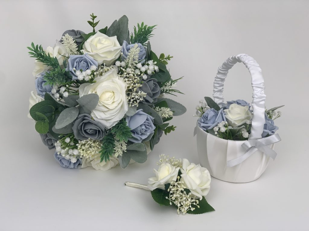 Greenery bouquets sets blue & grey