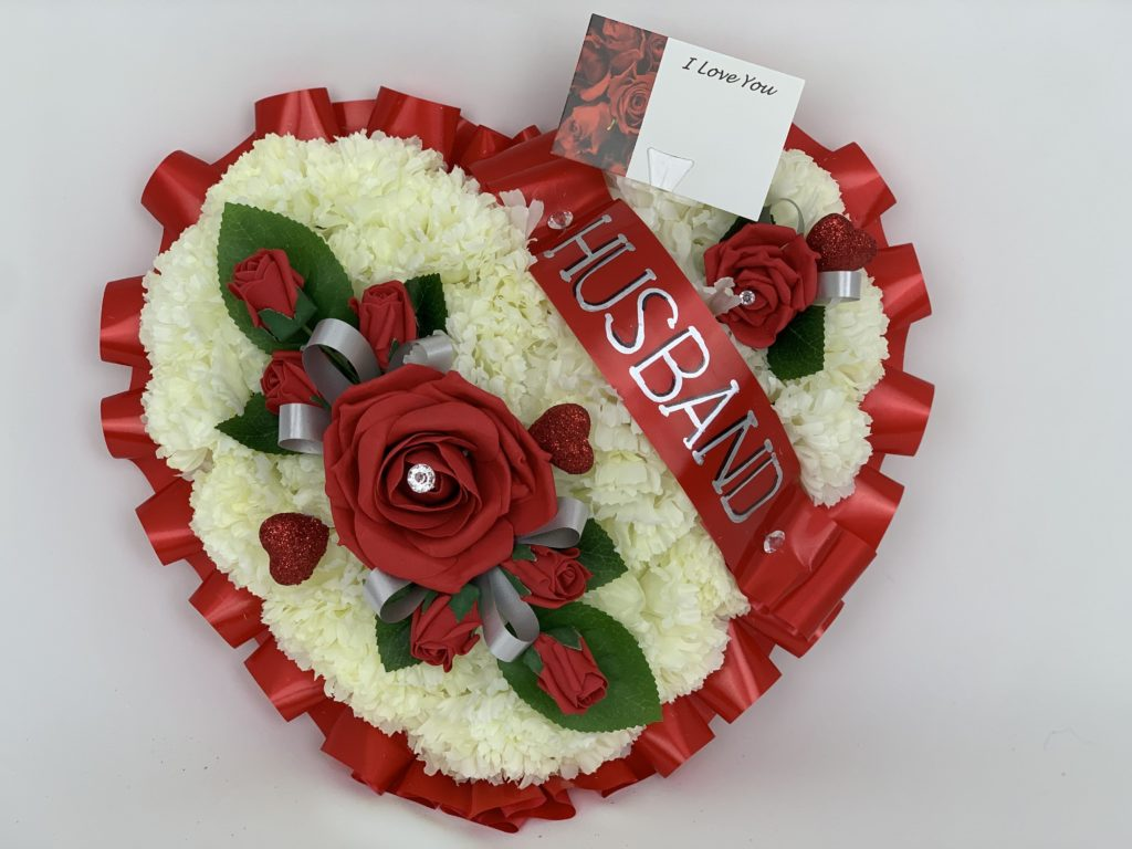 Large Artificial Silk Carnation Heart Wreath