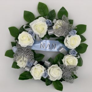 Artificial Silk Funeral Flowers Wreath with Ribbons