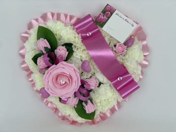 Large Artificial Silk Heart Wreath Mothers Day