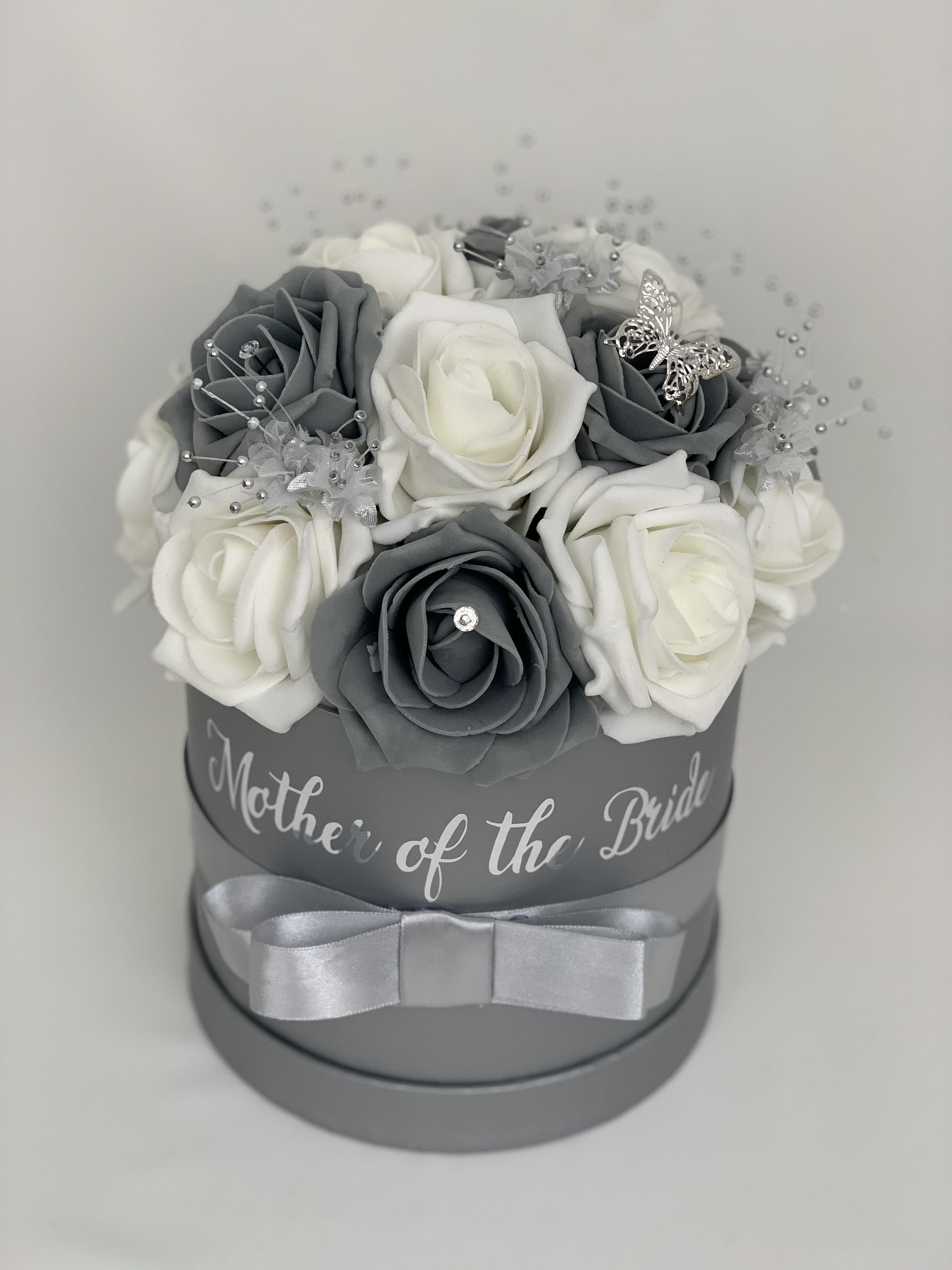Artificial Flowers Gift Hat Box Medium Diamante Ribbons