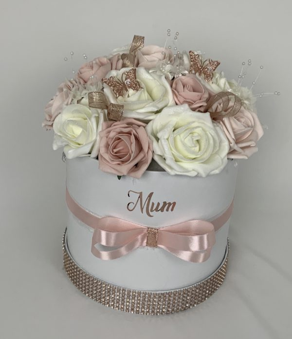 large hat flower box rose gold