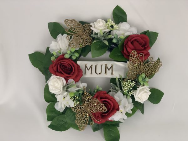 Artificial Gold Silk Funeral Flowers Wreath