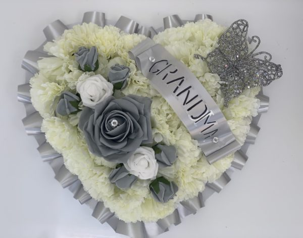 Artificial Silk Funeral Flowers Heart with Butterfly