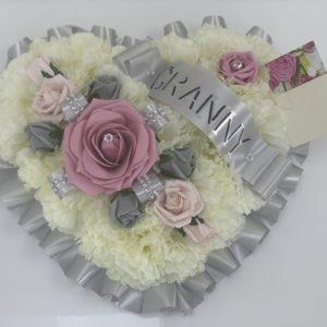 Artificial Silver Silk Flowers Heart Wreath