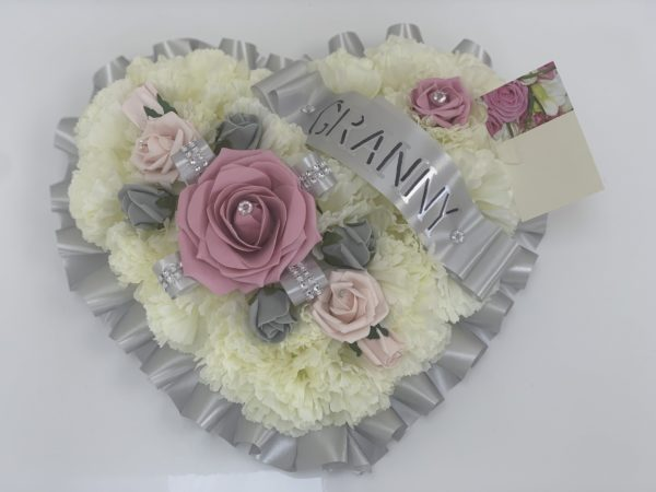 Artificial Silver Silk Flowers Heart Wreath