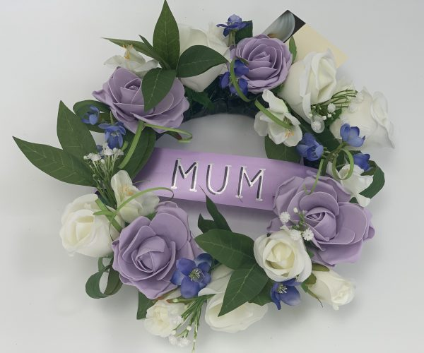 Artificial Round Funeral Wreath Mixed Flowers