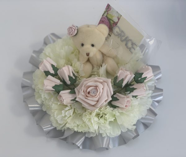 Small Artificial Silk Funeral Flowers Posy with Teddy Bear
