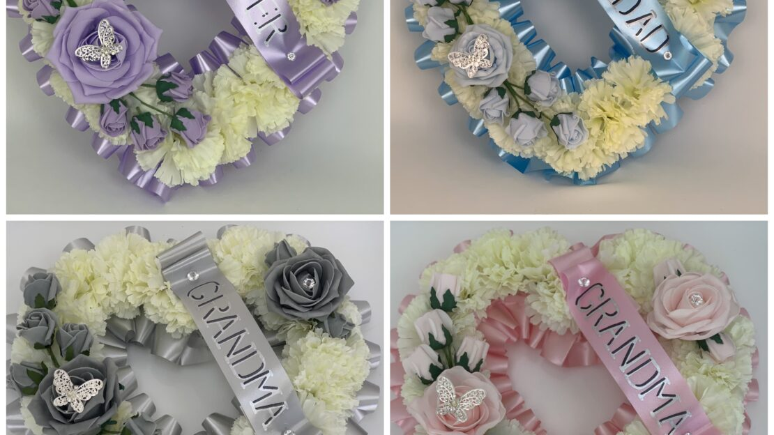 Large Artificial Silk Funeral Flowers Heart Wreath
