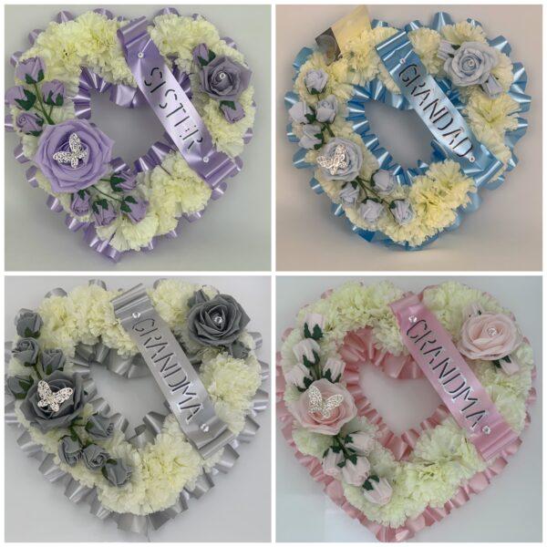Large Artificial Silk Funeral Flowers Heart Wreath