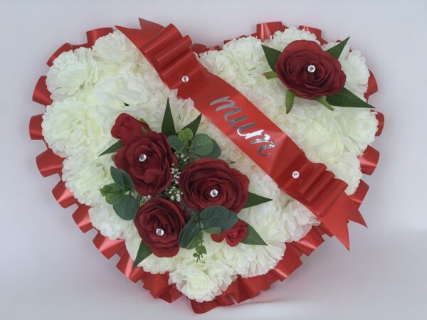 Artificial Silk Red Roses Heart Wreath Extra Large