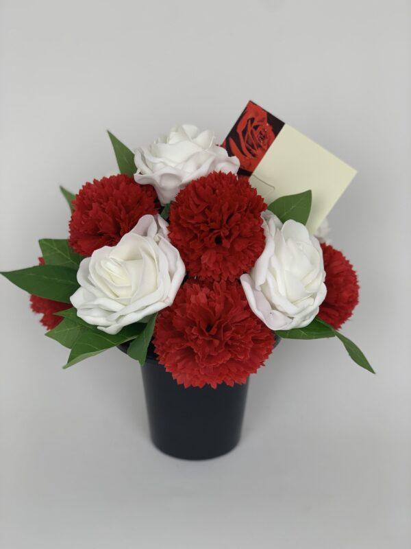 Artificial Carnations Grave Pot Flowers