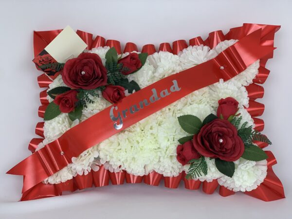 Artificial Silk Roses Grave Pillow