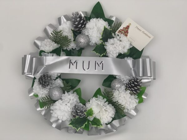 Artificial Christmas Silver Funeral Wreath