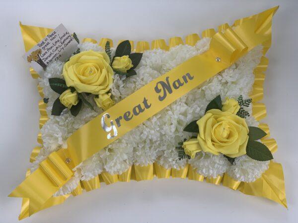 Artificial Silk Roses Funeral Flowers Pillow