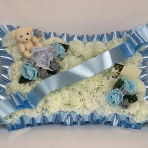 Artificial Silk Funeral Flowers Pillow with Teddy Bear