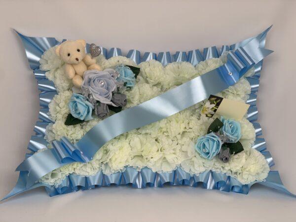 Artificial Silk Funeral Flowers Pillow with Teddy Bear