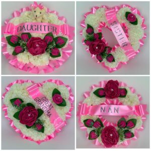 Artificial Pink Peonies Silk Heart Wreath