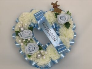 Artificial Christmas blue Heart Wreath