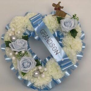 Artificial Christmas blue Heart Wreath
