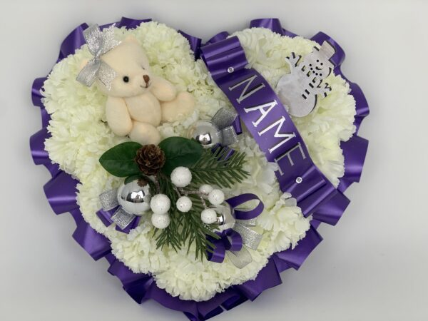 Artificial Silk Christmas Funeral Heart with Teddy Bear
