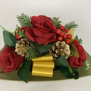 Christmas Berries Grave Pot Artificial Funeral Flowers