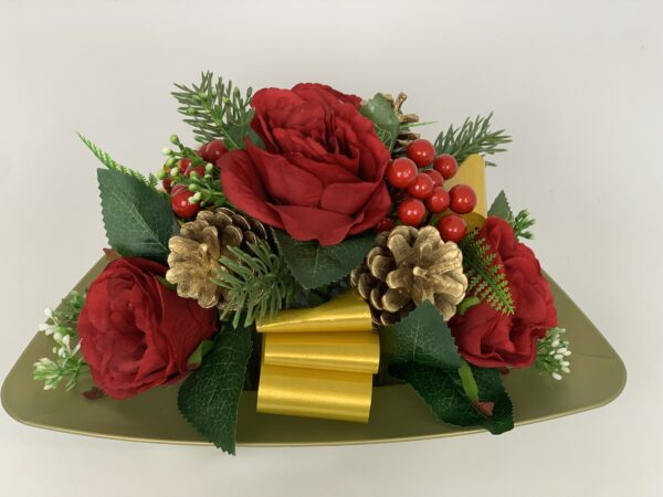 Christmas Berries Grave Pot Artificial Funeral Flowers