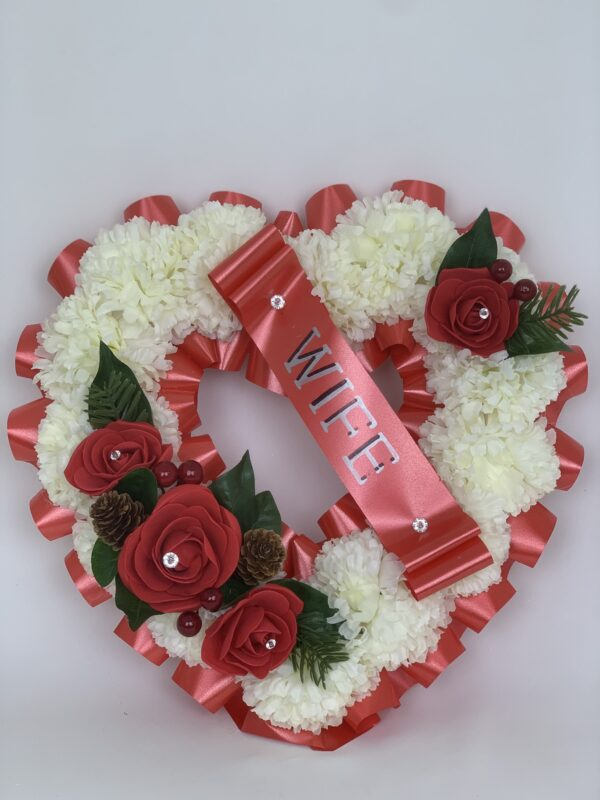 Artificial Christmas Red Heart Wreath