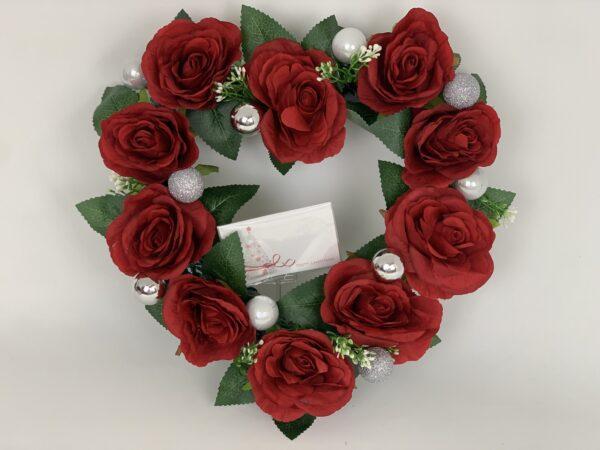 Heart Christmas Wreath Red