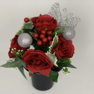 Christmas Butterfly Grave Pot Artificial Funeral Flowers