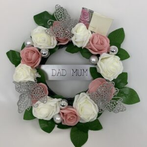 Artificial Butterfly Round Funeral Wreath