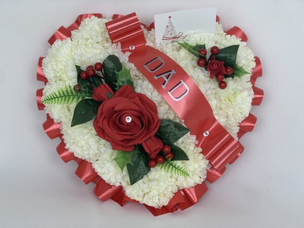 Artificial Christmas Red Heart Wreath Grave