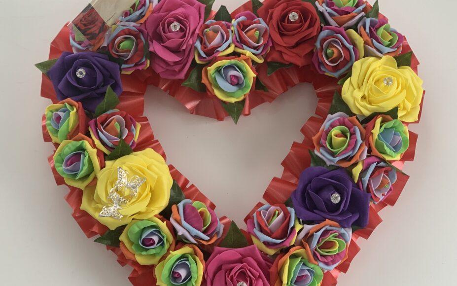 Artificial Silk Heart Wreath Extra Large